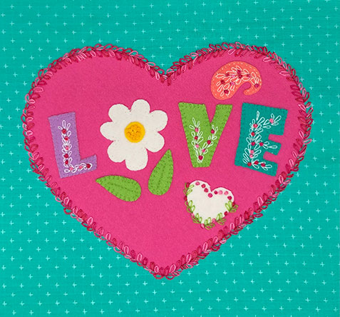 Peace, Love & Stitch-a-Long Block 3 - ALL YOU NEED IS LOVE KIT WITH PRINTED PATTERN
